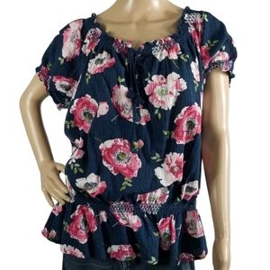 Cato Navy Floral Blouse